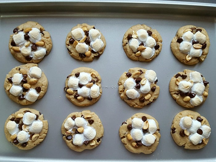 Rocky road cookies with peanut butter! Just follow the link to my yummy homemade peanut butter cookie recipe, add the toppings and bake! It's that simple.