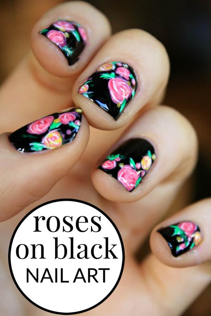 Black just seems so dark, scary and overpowering so I've avoided it. Until now. This rose nail art design turned out better than I expected.