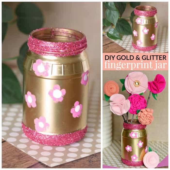 easy and affordable DIY Gold jar with fingerprint flowers - a cute keepsake gift idea