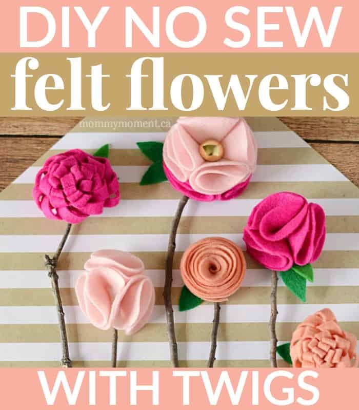 diy no sew felt flowers on twigs