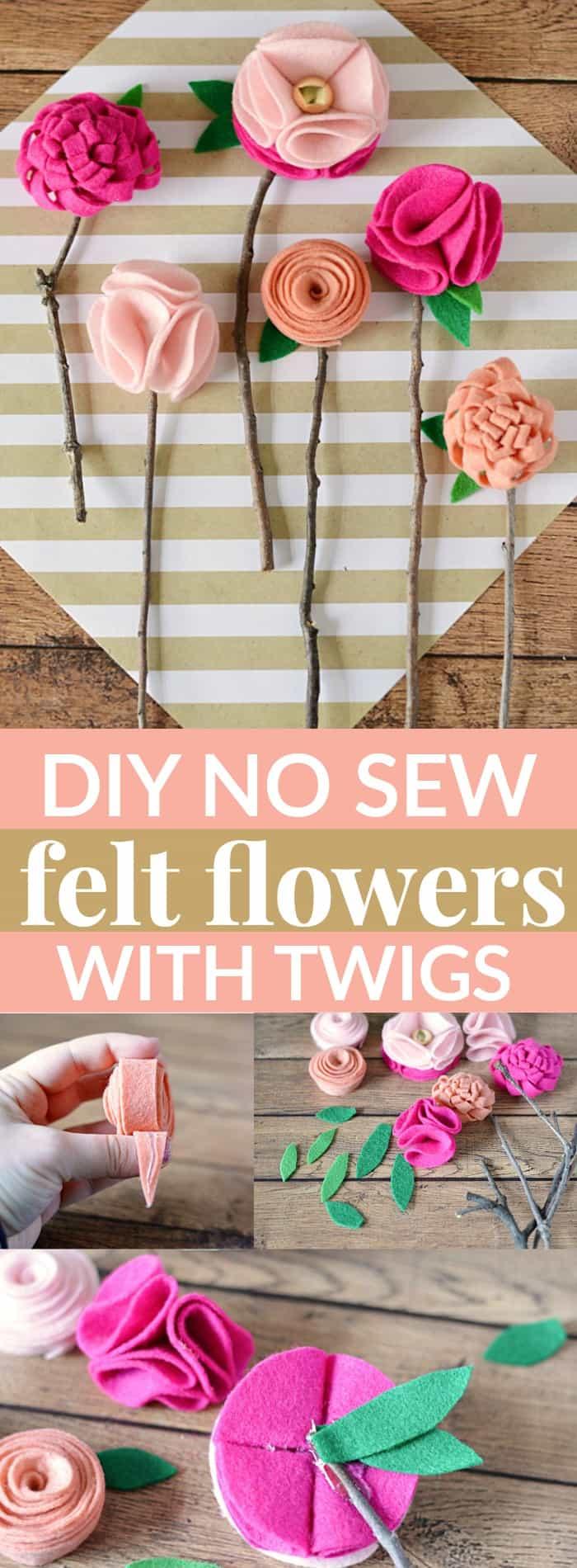 Beautiful Fun Fall Wedding Inspiration: DIY NO SEW FELT FLOWERS WITH TWIGS