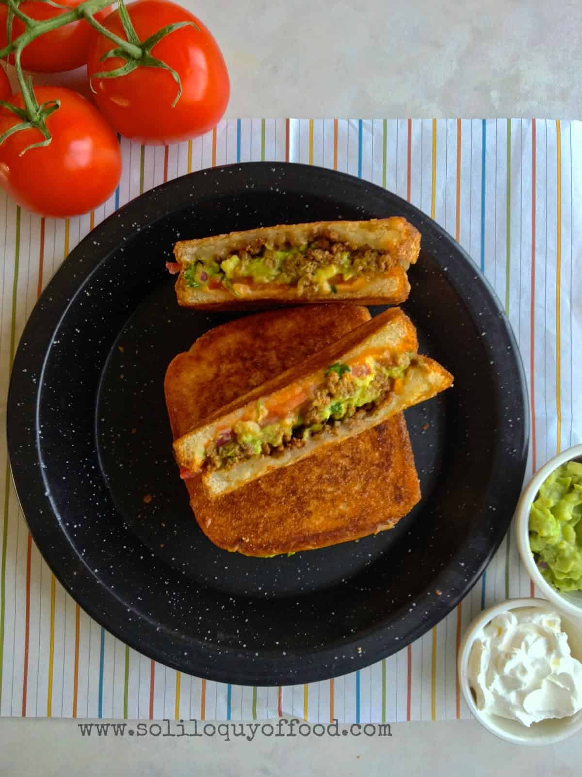 taco stuffed grilled cheese