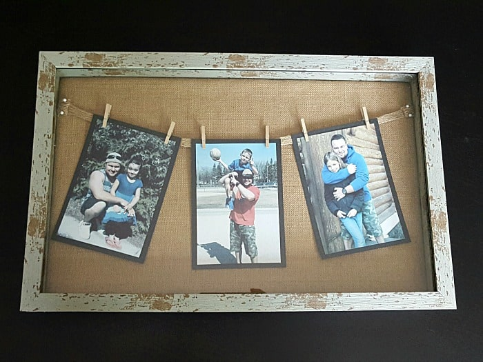 DIY Fathers Day photo frame display