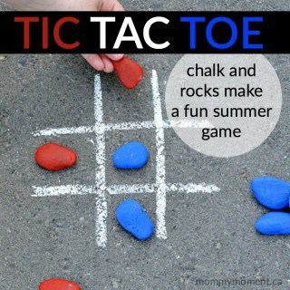 DIY CHALK AND ROCK TIC TAC TOE GAME FOR SUMMER