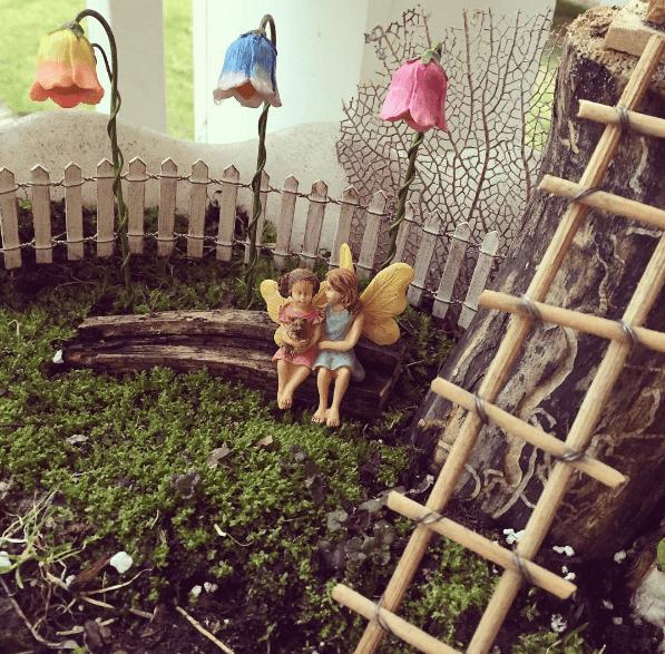 use a bird bath to make a fairy garden