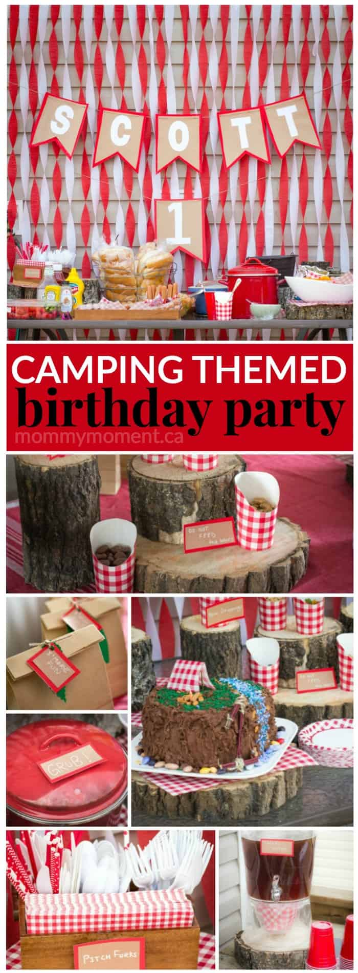 Camping themed birthday party so cute for a first  birthday party idea.