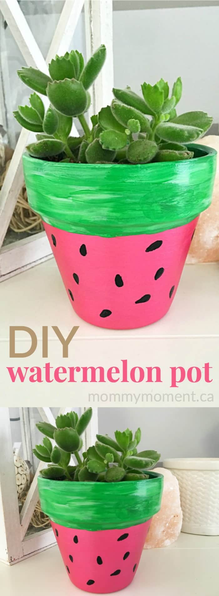 diy hand painted watermelon flower pot mommy moment. Black Bedroom Furniture Sets. Home Design Ideas