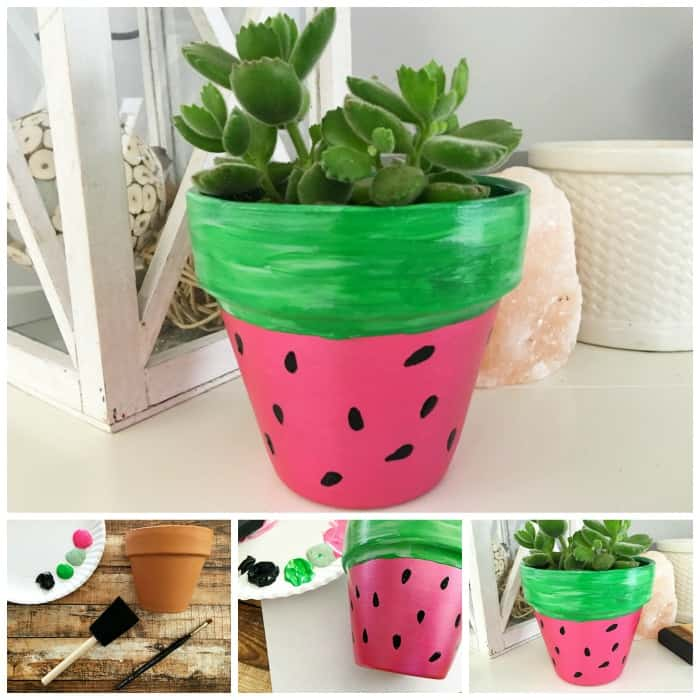 The cutest watermelon craft for kids. Make a hand painted watermelon terra cotta pot.