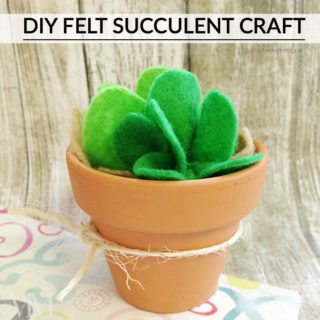 DIY FELT SUCCULENT CRAFT IN A TERRACOTTA CLAY POT
