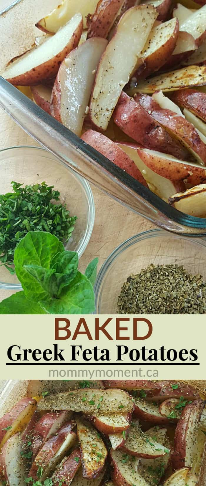 baked greek feta potato wedges