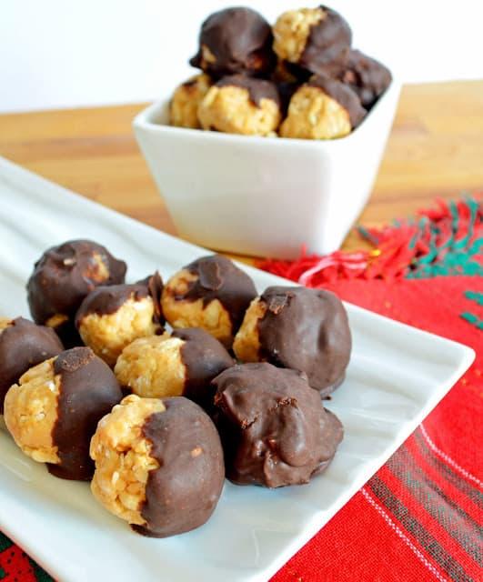 chocolate dipped peanut butter balls
