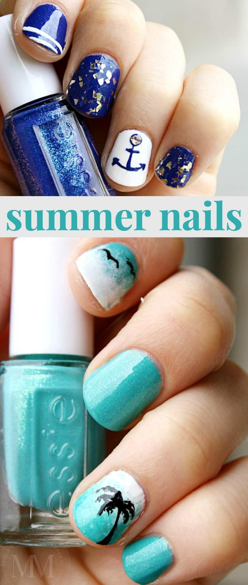summer nautical nail design mommy moment