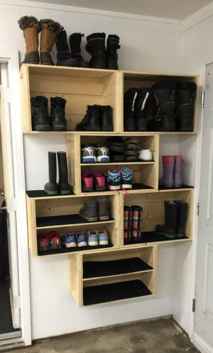 DIY Crate Shoe Storage