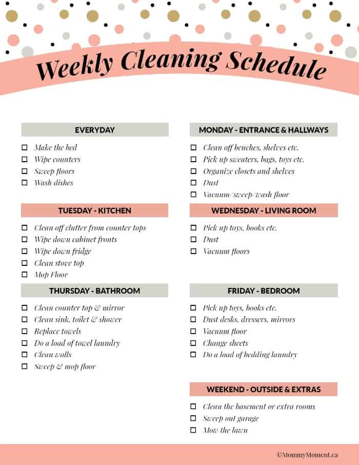 WEEKY CLEANING SCHEDULE - FREE PRINTABLE - Mommy Moment
