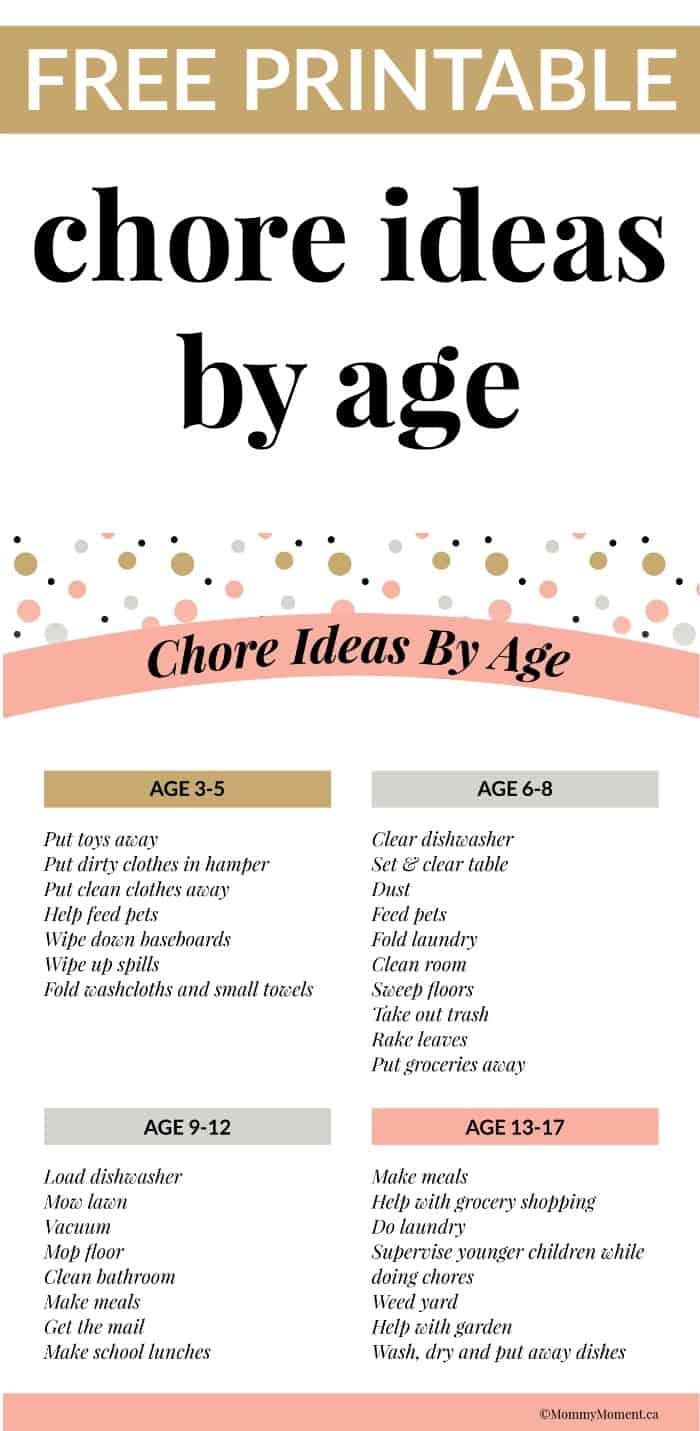 WHAT KIDS LEARN BY DOING CHORES + CHORE IDEAS BY AGE ...