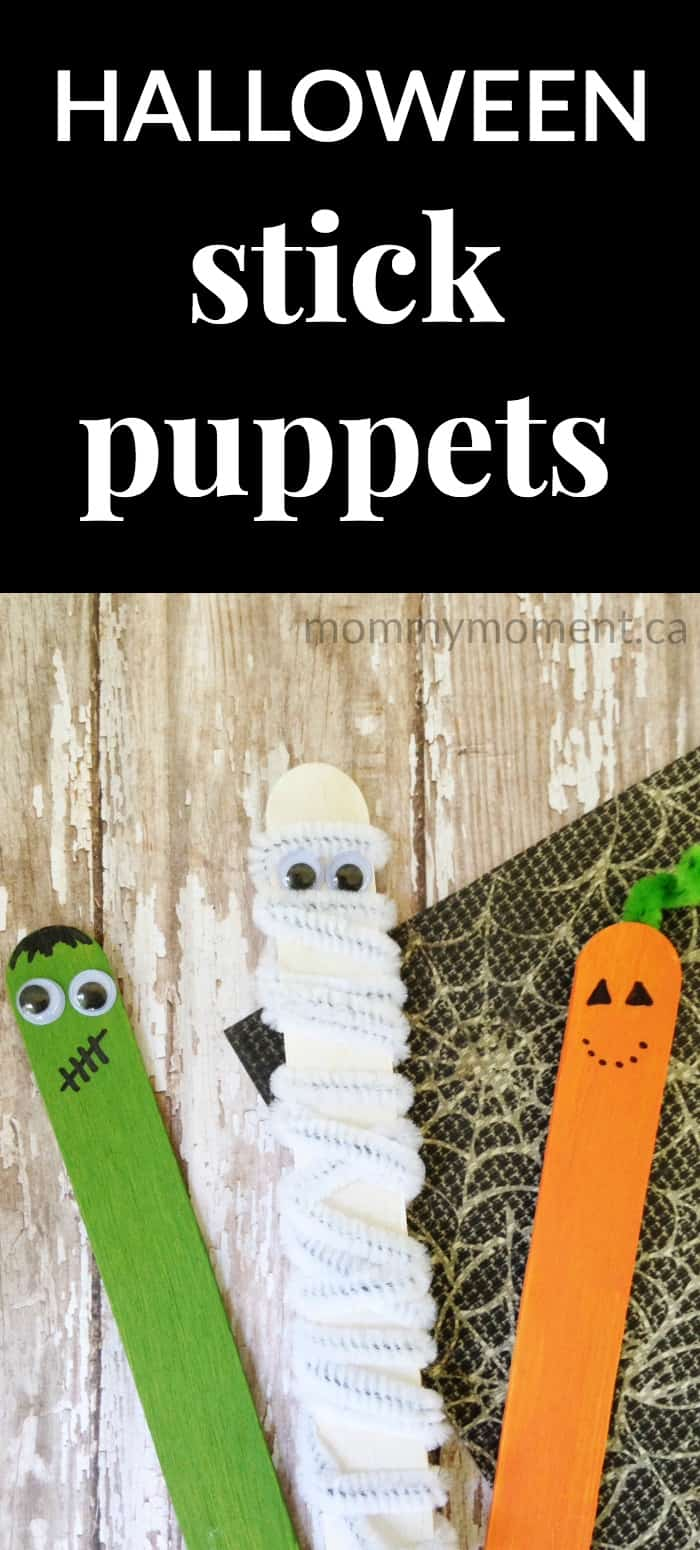Halloween stick puppets craft for kids