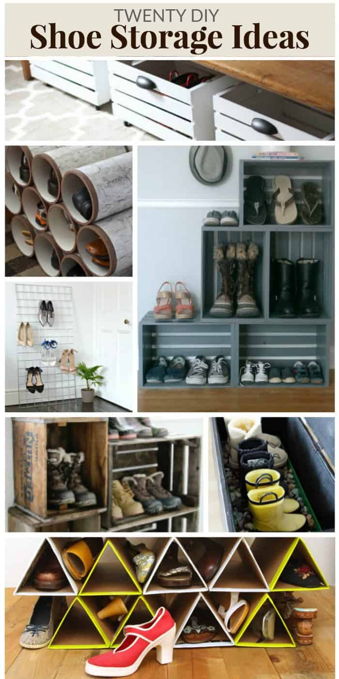 20 diy shoe storage ideas mommy moment. Black Bedroom Furniture Sets. Home Design Ideas