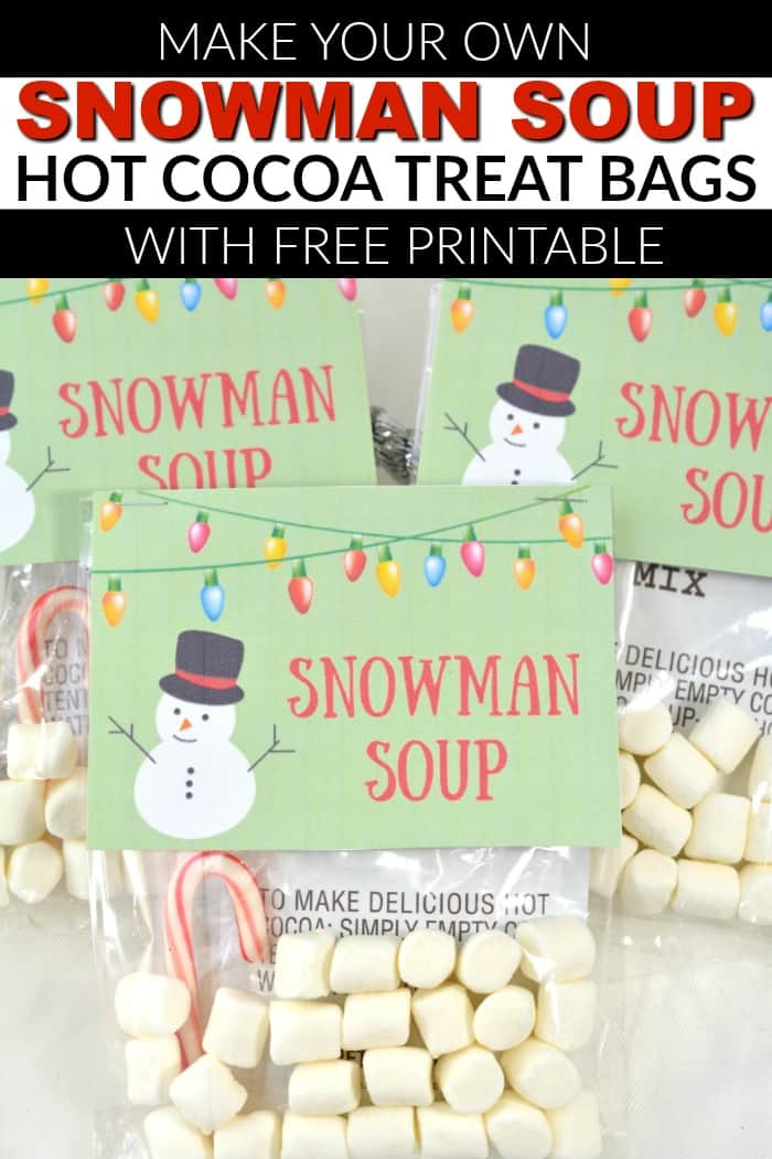 photograph regarding Snowman Soup Printable Tag titled SNOWMAN SOUP Very hot COCOA Handle Baggage Mommy Instant