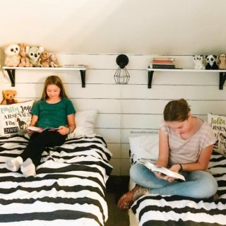 2 SISTERS, 1 TINY BEDROOM MAKEOVER WITH FAUX SHIPLAP WALL